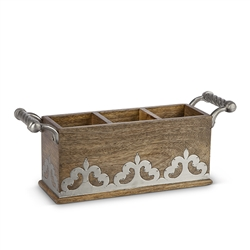 The GG Collection Wood w/Metal inlay Flatware Caddy