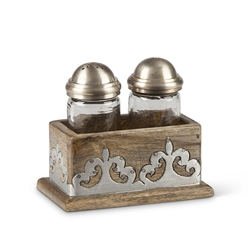 The GG Collection Wood w/Metal inlay Salt & Pepper Shakers