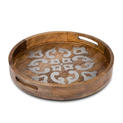 "The GG Collection Wood and Metal 20"" Round Tray"
