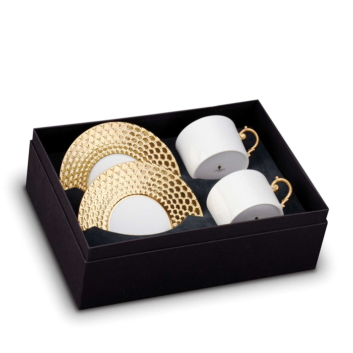 L'Objet Aegean Gold Tea Cup and Saucer Gift Box Set