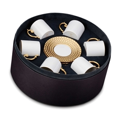 L'Objet Aegean Gold Espresso Cup and Saucer Gift Box Set/6