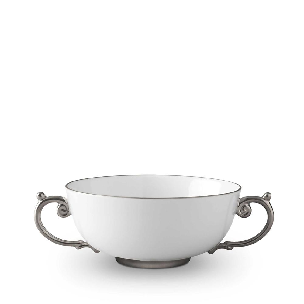 L\'Objet Aegean Platinum Soup Bowl with 2 Handles - AG6350