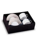 L'Objet Aegean Platinum Tea Cup and Saucer Gift Box Set