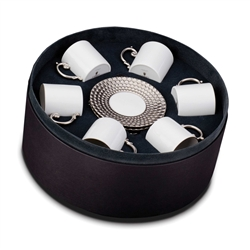 L'Objet Aegean Platinum Espresso Cup and Saucer Gift Box Set