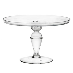 Juliska Isabella Large Cake Pedestal Clear Mouth-Blown Glass