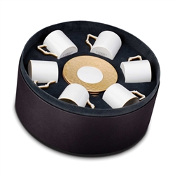 L'Objet Byzanteum Gold Espresso Cup and Saucer Gift Box Set of 6