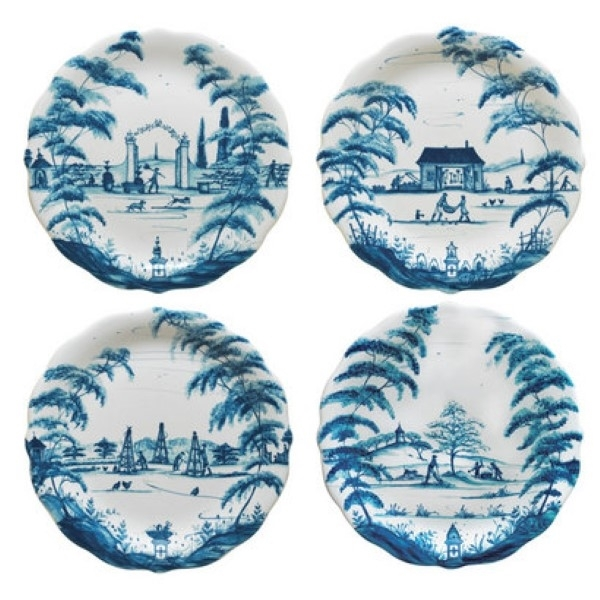 Juliska Country Estate Party Plates Set 4 Delft Blue