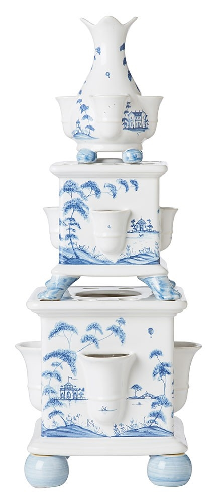 Juliska Country Estate Tulipiere Tower Set/3 Garden Follies Delft Blue
