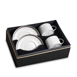 L'objet Corde Platinum Tea Cup+Saucer Set of 2