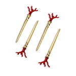 L'Objet Coral Stainless Steel Cocktail Single-Prong Picks Set of 4