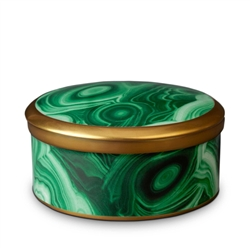 L'Objet Library Malachite Round Box