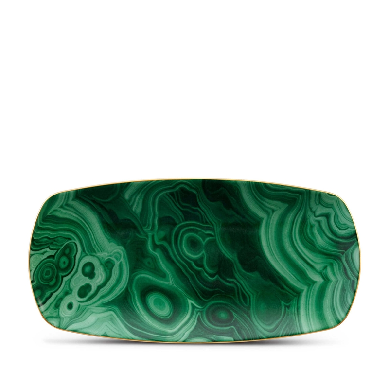 L'Objet Library Malachite Medium Rectangular Tray