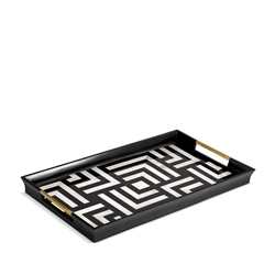 L'Objet Dedale Rectangular Tray - Black + White Natural Shells - Large
