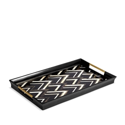 L'Objet Deco Noir Rectangular Tray - Black + Grey + White Natural Shells - Large