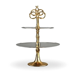 L'Objet Evoca 2 Tier Platter with 24k Gold Bamboo Stand