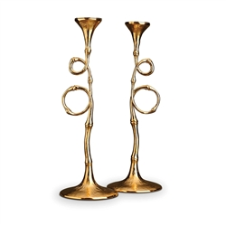 L'Objet Evoca 24kt Gold Plated Candlesticks Pair