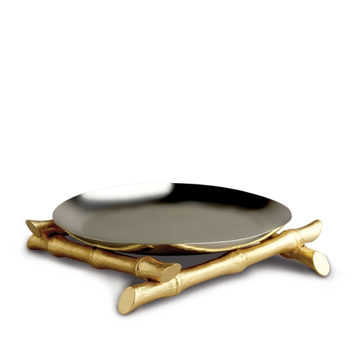 "L'objet 14"" Round Platter on 24K Gold Bambou Stands"