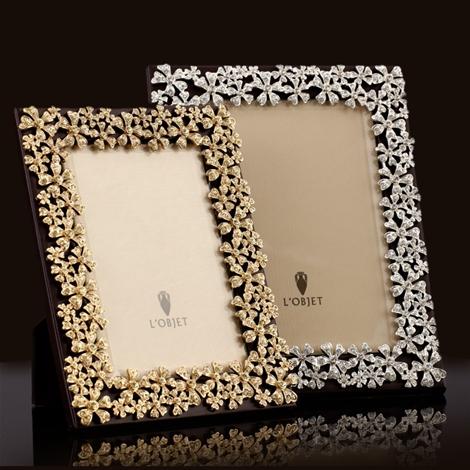 L\'Objet Platinum Garland Frame w/White Crystals 8x10