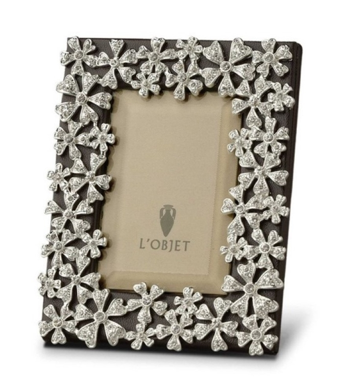 L'objet Platinum Garland Frame with White Crystals 2x3