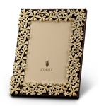 L'Objet Gold Plated Garland Photo Frame w/Yellow Crystals 5x7