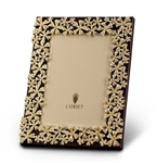 L'Objet Gold Plated Garland Photo Frame w/Yellow Crystals 4x6