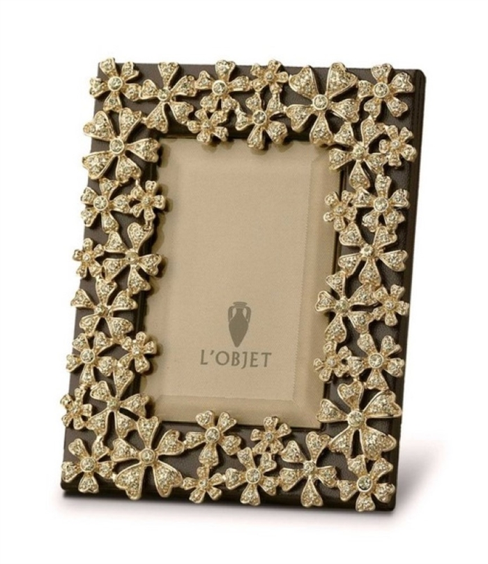 L'objet Gold Plated Garland Frame with Yellow Crystals 2x3