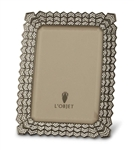 L'Objet Deco Noir 5x7 Photo Frame Oxidized Platinum w/ Swarovski Crystals