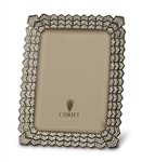 L'Objet Deco Noir 4 x 6 Photo Frame Oxidized Platinum w/ Swarovski Crystals