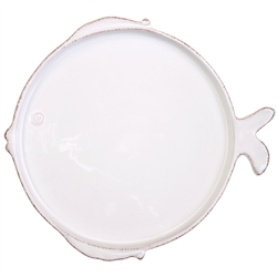 Vietri Lastra Fish White Dinner Plate