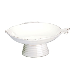 Vietri Lastra Fish White Small Footed Compote Bowl