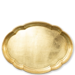 Florentine Wooden Acces Gold Large Oval Tray