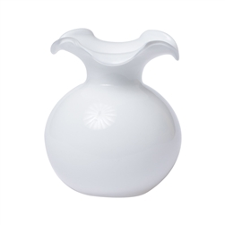 Hibiscus Glass White Small Fluted Vase - HBS-8581W