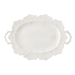 Juliska Jardins du Monde Large Handled Turkey Platter Whitewash
