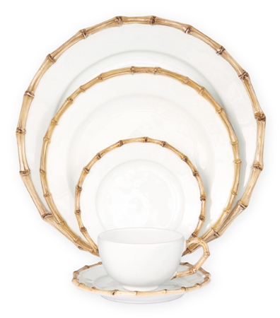 Juliska Classic Bamboo Ceramic Stoneware 5pc Dinnerware Set Natural