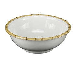 Juliska Classic Bamboo Ceramic Stoneware Medium Serving Bowl Natural
