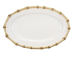 Juliska Classic Bamboo Ceramic Stoneware Medium Platter Natural