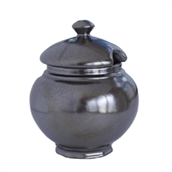 Juliska Pewter Ceramic Stoneware Lidded Sugar Bowl