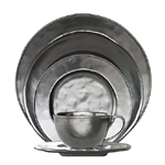 Juliska Pewter Ceramic Stoneware 5pc Round Dinnerware Set