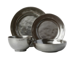 Juliska Pewter Ceramic Stoneware 4pc Dinnerware Set