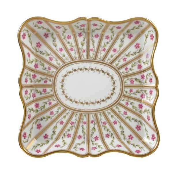 Bernardaud Roseraie Square Scalloped Tray