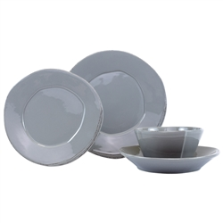 Vietri Lastra Gray Four-Piece Place Setting - LAS-2600GS-4
