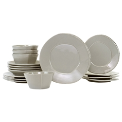 Vietri Lastra Light Gray Sixteen-Piece Service for 4 - LAS-2600LGS-16