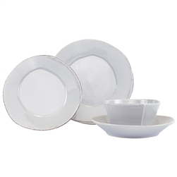 Vietri Lastra Light Gray Four-Piece Place Setting - LAS-2600LGS-4