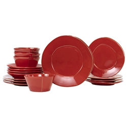 Vietri Lastra Red Sixteen-Piece Place Setting - LAS-2600RS-16