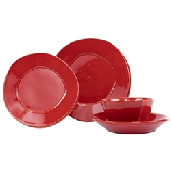 Vietri Lastra Red Four-Piece Place Setting - LAS-2600RS-4