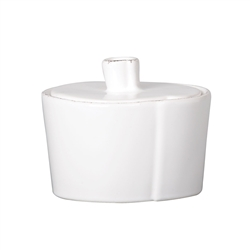 Vietri Lastra White Sugar Bowl