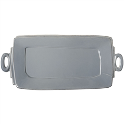 Vietri Lastra Gray Handled Rectangular Platter