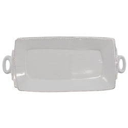 Vietri Lastra Light Gray Handled Rectangular Platter - LAS-2623LG