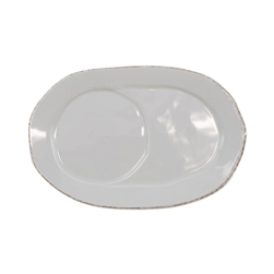 Vietri Lastra Light Gray Oval Tray - LAS-2624LG