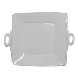 Vietri Lastra Light Gray Handled Square Platter - LAS-2628LG